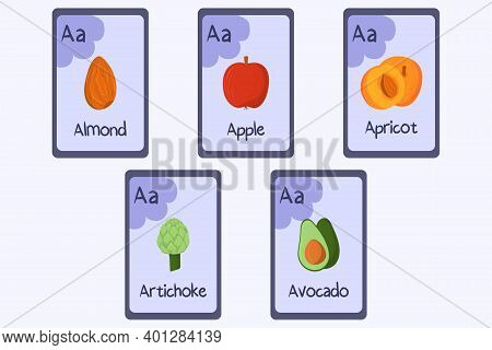 Colorful Phonics Flashcard Letter A - Almond, Apple, Apricot, Artichoke, Avocado. Food Themed Abc Ca