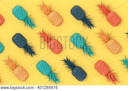 Multicolour Fresh Ripe Tropical Healthy Nutrition Pineapple Fruits Background Texture On A Yellow Ba