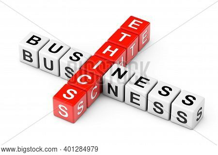 Business Ethics Sign As Crossword Cube Blocks On A White Background. 3d Rendering