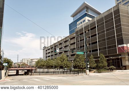 Commercial Buildings And Business In Downtown Denver.  Denver, Colorado, Usa