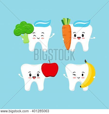 Cute Tooth With Food For Dental Health Set. Strong White Teeth With Apple, Broccoli, Banana And Carr
