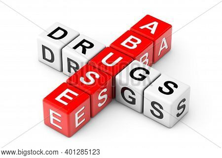 Abuse Drugs Sign As Crossword Cube Blocks On A White Background. 3d Rendering