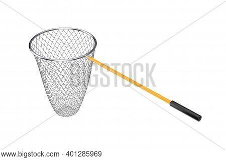 Fishing Landing Net On A White Background. 3d Rendering