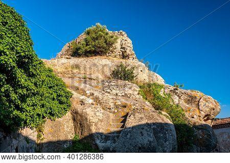 Central Part Of Lauria Castle Ruins In Castiglione Di Sicilia, Italy