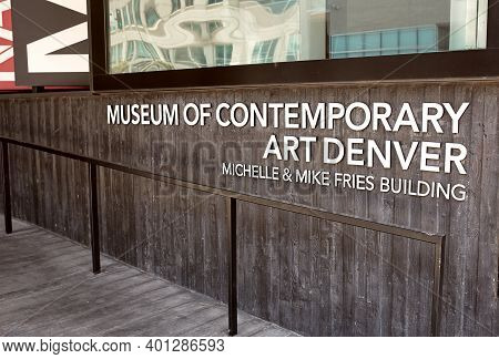 Denver, Colorado - August 4th, 2020:  Entrance Sign To Museum Of Contemporary Art Denver, Mca.