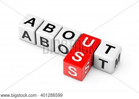 About Us Sign As Crossword Cube Blocks On A White Background. 3d Rendering