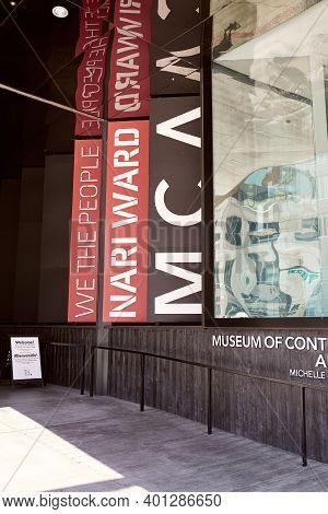 Denver, Colorado - August 4th, 2020:  Signs For Current Exhibitions At The Museum Of Contemporary Ar