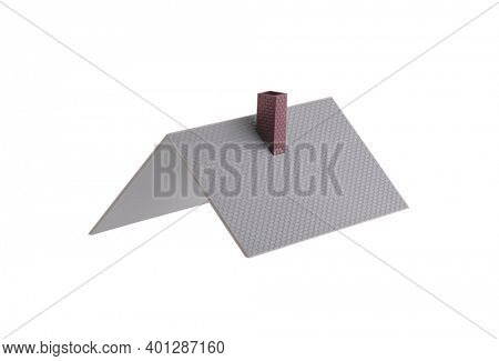 House roof isolated on white background with clipping path