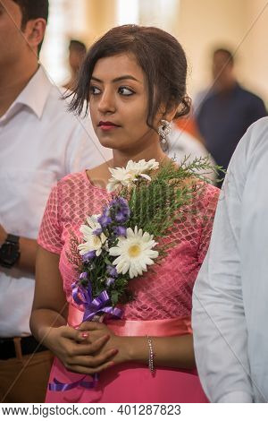 Kerala, India, 08-12-2017. Bride Of Honor During Ceremony. Catholic Wedding In The Province Of Keral