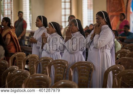 Kerala, India, 08-12-2017. Nuns During Ceremony. Catholic Wedding In The Province Of Kerala In South