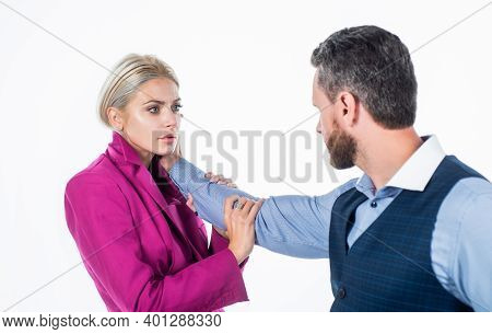 Man Use Physical Abuse To Woman. Family Couple Has Problems In Relationship. Domestic Violence As Ge