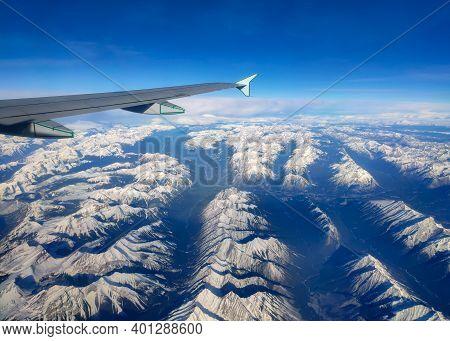 Aerial View Of Canadian Rockies, Alberta, Canada. Banff National Park, Canmore, Kananaskis.