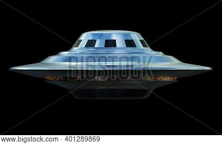 Unidentified Flying Object. Ufo Over Black With Clipping Path Included. 3d Illustration.