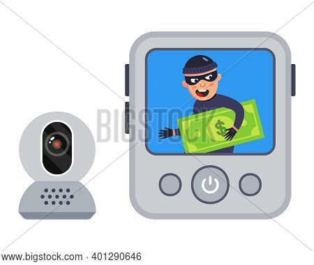 Video Recording Of The Crime. The Robber Was Filmed. Flat Vector Illustration.
