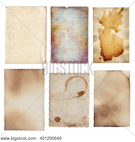 Set Of Old Various Vintage Rough Paper With Scratches And Stains Texture