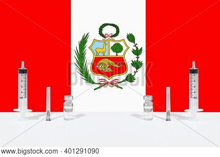 Flag Of Peru Illustrating Campaign For Global Vaccination Against Covid-19. Epidemic Virus