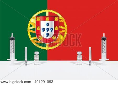 Flag Of Portugal Illustrating Campaign For Global Vaccination Against Covid-19. Epidemic Virus