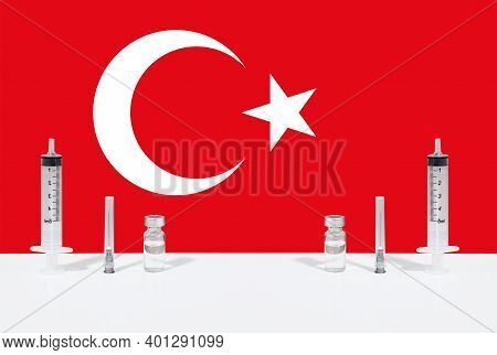 Flag Of Turkey Illustrating Campaign For Global Vaccination Against Covid-19. Epidemic Virus