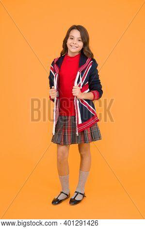 Learn English Language. British Accent. Great Britain Flag. Small Girl School Uniform. English Stude