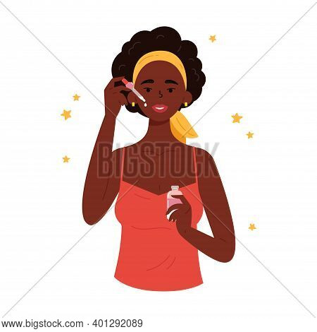 The Girl Applies A Cosmetic Product On The Skin With A Pipette. Young Beautiful Woman With Bottle Of