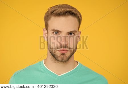 Handsome Man Has Stylish Haircut. Shaving And Grooming At Barbershop. Hairdresser Salon Service. Sum