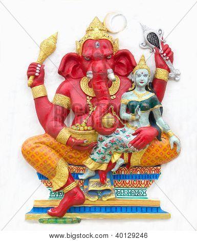 Hindu ganesha God Named Maha Ganapati at temple in thailand poster