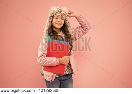 Academic Year. Winter Semester. Teen With Backpack And Books. Stylish Schoolgirl. Girl Little Fashio