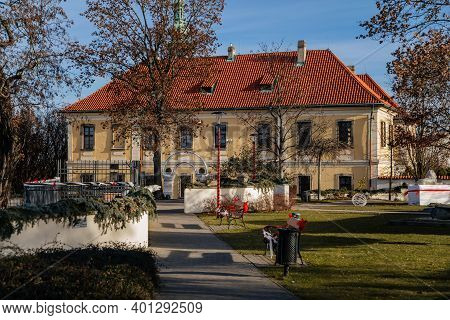 Christmas Decorations, Garlands And Ribbons At Baroque Castle Park In Winter Sunny Day, Historical T