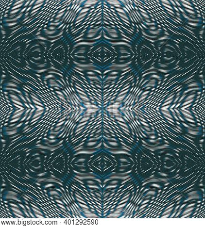 Vector Striped Ornamental Abstract Texture From Lines In Trendy Gray Halftones With Moire Effect. Co