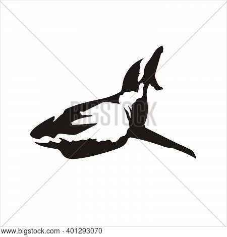 Shark Black Silhouette Vector. Sea Wild Fish Silhouette. Shark Isolated On A White Background. Shark