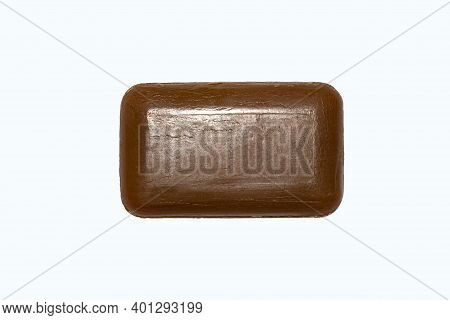 Tar Soap Isolated On White Background.a Piece Of Medical Tar Soap.
