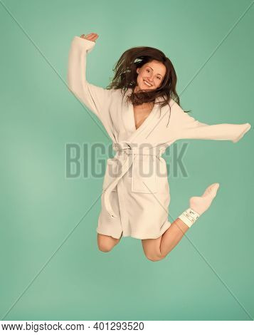 Home Is Where Im Quarantined. Happy Woman Jump In Bathrobe. Home Clothing And Leisure Wear. Avoid Co