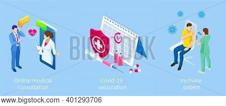 Isometric Vaccination And Immunization, Time To Vaccinate, Online Medical Advise, Medical Prescripti
