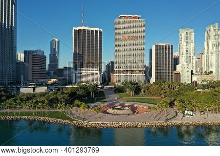 Miami, Florida - December 27, 2020 - Aerial View Of City Of Miami And Bayfront Park On Sunny Autumn