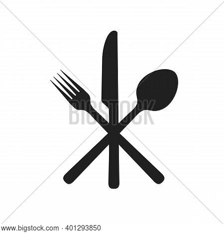 Fork Knife Spoon Icon Vector. Kitchen Cutlery Symbol. Isolated Silhouette Of Restaurant Silverware S