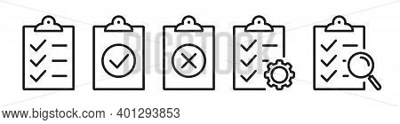 Checklist On The Clipboard Line Icon Set With Compliance Tick Check Sign On It. Clip Board Outline V