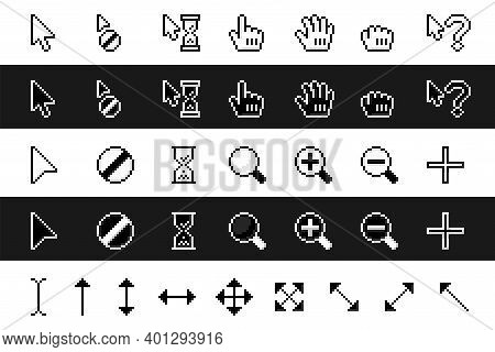 Retro Pixel Arrows, Loading Hourglass And Zoom Magnifier. Pointing Hand And Grab Icons Vector Set.