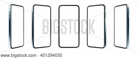 Realistic Phone Screen, Gadget With Metal Frame And Mobile App Presentation 3d Vector Template.