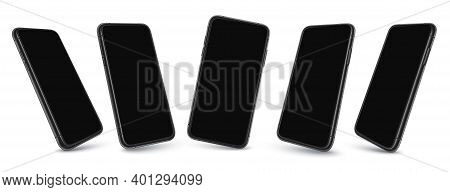 Phone Screen In Perspective View, Modern Cellphone Display Frame And Template For Mobile App Present