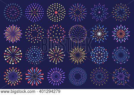 Celebration Fireworks Display Show, Isolated Decorative Vector Set.