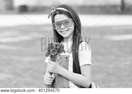 Its Time To Appreciate Mothers. Happy Girl Hold Flowers For Mothers Day. Mothers Day Celebration. Fl