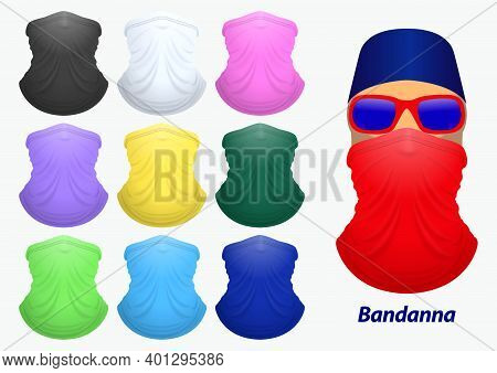 Set Of Bandanna Realistic Or Bandanna For Biker And Cowboy Clothes Or Buff On Realistic Mannequin Co