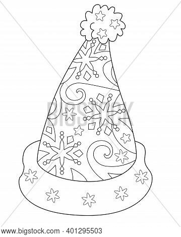 Santa Claus Hat Antistress - Vector Linear Illustration For Coloring. Christmas Or New Year's Elemen