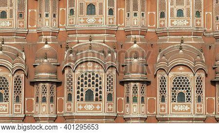 Extreme Close Up Of The Facade Of Hawa Mahal Palace In Jaipur