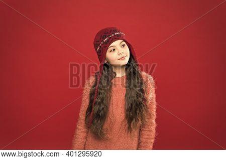 Dreamy Mood. Little Kid Wear Knitted Hat. Stay Warm. Little Girl Winter Fashion Accessory. Small Ado