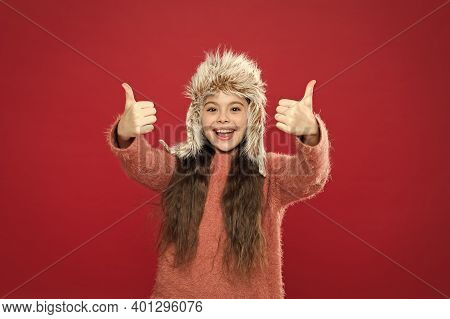 Perfect Accessory. Girl Wear Hat With Ear Flaps White Background. Soft Furry Accessory. Caring Fur G