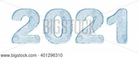 2021 New Year Ice Number. Symbol Of The Year In The Form Of Numbers From Frozen Water. Isolated On W