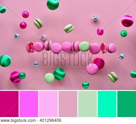 Color Matching Palette. Levitation Of Macaroons, Creative Food Concept. Flying Macaroons, Mirror Dis