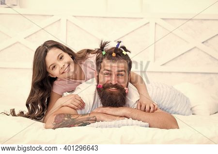 Family Leisure Concept. Girl Dad Hairdo. Quarantine With Children. Affection And Support. Happy Fami