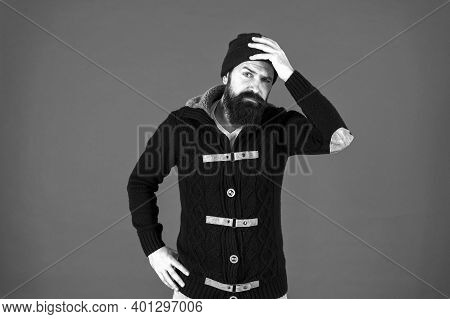 Forgot. Emotional Expression. Casual Clothes For Winter Season. Man Bearded Hipster Stylish Fashiona